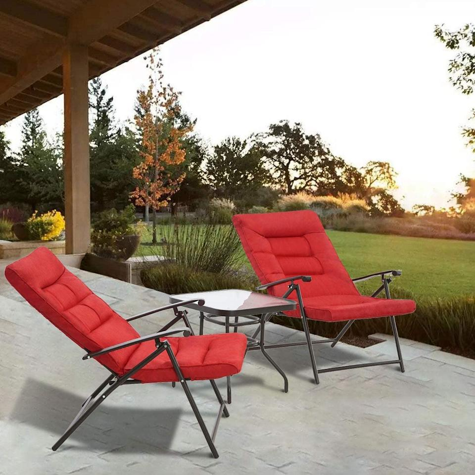 """<p>Sit back and relax on this <a href=""""https://www.popsugar.com/buy/Patiomore-3-Piece-Outdoor-Padded-Patio-Folding-Chair-Furniture-Set-575504?p_name=Patiomore%203%20Piece%20Outdoor%20Padded%20Patio%20Folding%20Chair%20Furniture%20Set&retailer=amazon.com&pid=575504&price=146&evar1=casa%3Aus&evar9=45910407&evar98=https%3A%2F%2Fwww.popsugar.com%2Fhome%2Fphoto-gallery%2F45910407%2Fimage%2F47487633%2FPatiomore-3-Piece-Outdoor-Padded-Patio-Folding-Chair-Furniture-Set&list1=shopping%2Cfurniture%2Coutdoor%20entertaining%2Coutdoor%20decorating%2Cdecor%20shopping%2Chome%20shopping&prop13=api&pdata=1"""" class=""""link rapid-noclick-resp"""" rel=""""nofollow noopener"""" target=""""_blank"""" data-ylk=""""slk:Patiomore 3 Piece Outdoor Padded Patio Folding Chair Furniture Set"""">Patiomore 3 Piece Outdoor Padded Patio Folding Chair Furniture Set</a> ($146).</p>"""