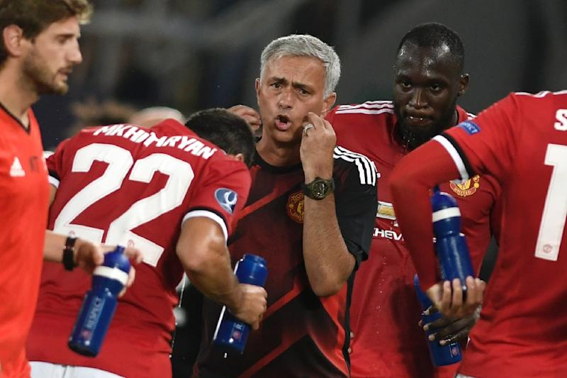 Manchester United's Portuguese manager Jose Mourinho gives his instructions during the UEFA Super Cup football match against Real Madrid