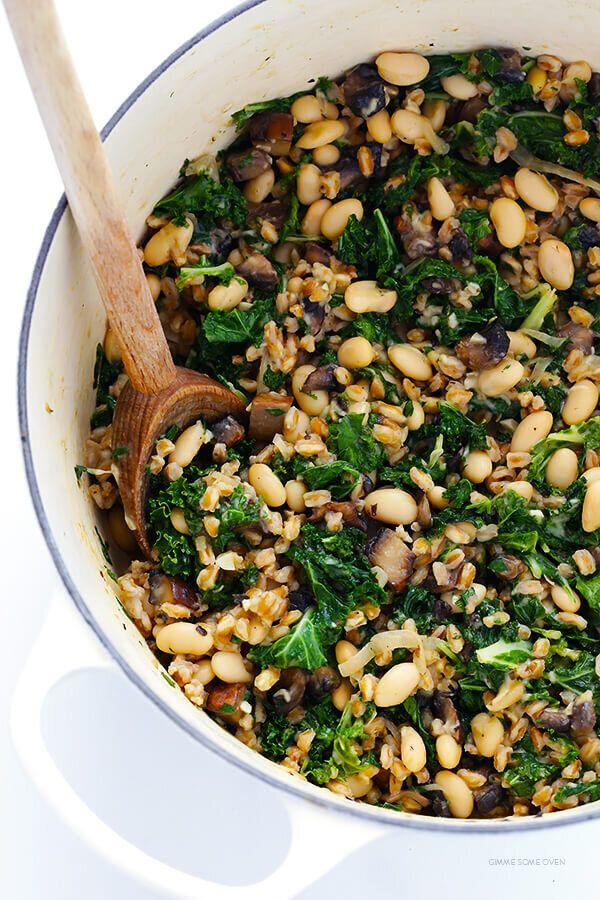 """<strong><a href=""""https://www.gimmesomeoven.com/creamy-farro-with-white-beans-and-kale/"""" target=""""_blank"""" rel=""""noopener noreferrer"""">Get the Creamy Farro with White Beans and Kale recipe from Gimme Some Oven</a></strong>"""