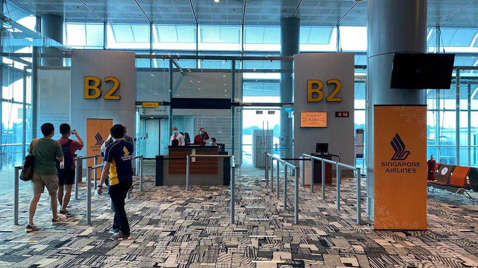 The boarding entrance for the pre-dining tour of the A380. Photo: Coconuts