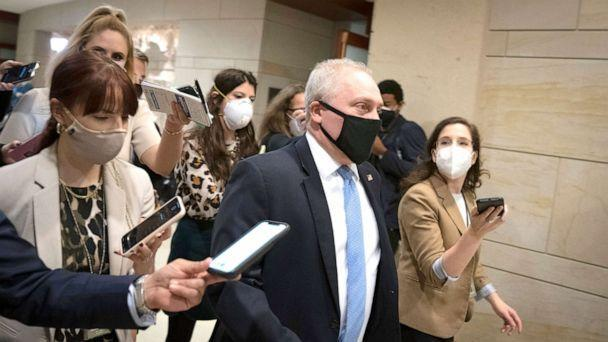 PHOTO: Rep. Steve Scalise arrives to a House GOP caucus meeting at the U.S. Capitol on Feb. 3, 2021 in Washington, D.C. Democrats announced plans to hold a House vote Thursday on removing Rep. Marjorie Taylor Greene from her committee assignments.  (Drew Angerer/Getty Images)
