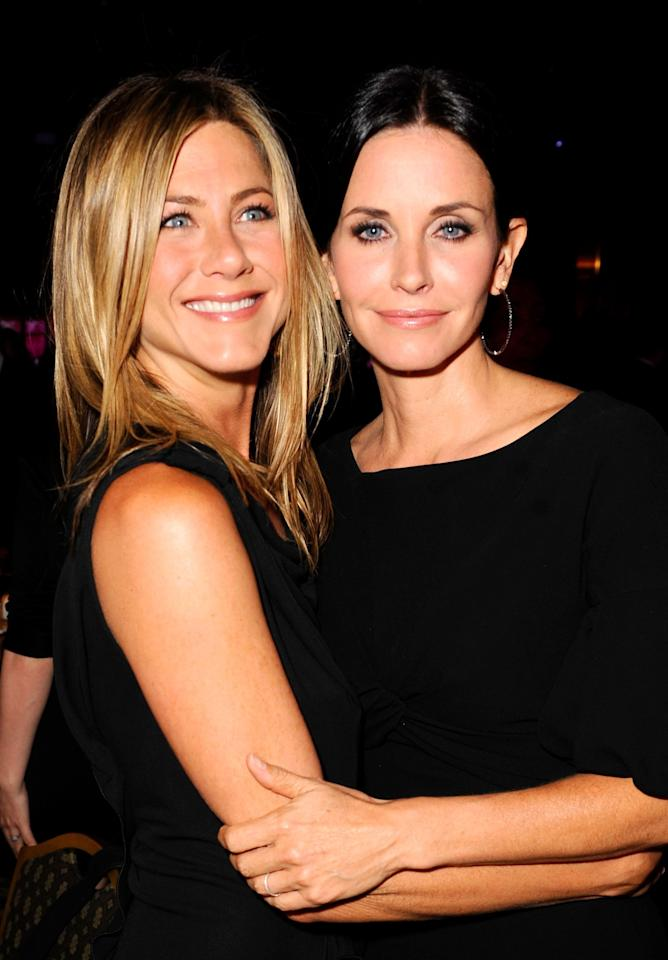 """<p>Beloved sitcom <i>Friends</i> brought us some of the best TV friendships but also the close real-life friendship of Aniston and Courteney Cox, which is still going strong. Cox was Aniston's maid of honor when she married Justin Theroux, and it was Cox who <a rel=""""nofollow"""" href=""""https://www.yahoo.com/celebrity/courteney-cox-defends-jennifer-aniston-020714864.html"""">shut down reporters trying to get scoop on Aniston's reaction when Brangelina split last year. Aniston has nothing but good things to say about Cox, despite persistent tabloid rumors the two are feuding. """"I've slept in her guest bedroom a lot,"""" </a><a rel=""""nofollow"""" href=""""http://www.eonline.com/news/504445/jennifer-aniston-talks-courteney-cox-friendship-she-s-been-there-for-me-through-thick-and-thin"""">Aniston told <i>More</i></a> in January 2014. """"Without giving away too much of my private stuff, all I can say is she's been there for me through thick and thin."""" (Photo: Michael Caulfield/Wireimage) </p>"""