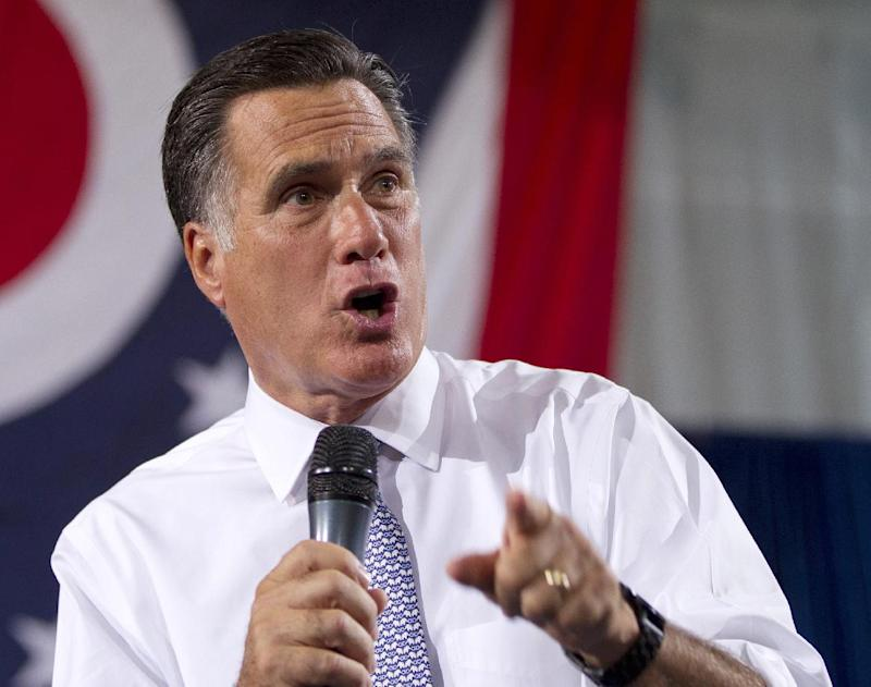 """FILE - In this July 18, 2012 file photo, Republican presidential candidate, former Massachusetts Gov. Mitt Romney speaks in Bowling Green, Ohio. Want to be among the first to know who Romney picks for a running mate? There's an app for that. Romney's campaign on Tuesday announced an iPhone and Android application to alert supporters when Romney makes his vice presidential pick. The campaign promises they can find out who Romney chooses """"before the press and just about everyone else (except maybe Ann).""""  (AP Photo/Evan Vucci, File)"""