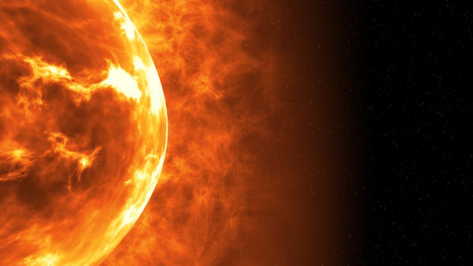 Sun surface with solar flares. Abstract scientific background. 3d illustration