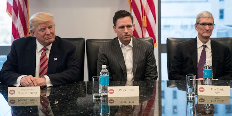 donald trump tim cook peter theil meeting tech tower