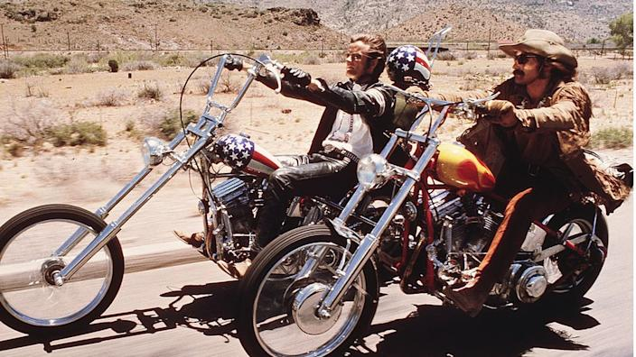 Dennis Hopper and Peter Fonda ride Harley-Davidsons in a scene from the film Easy Rider.