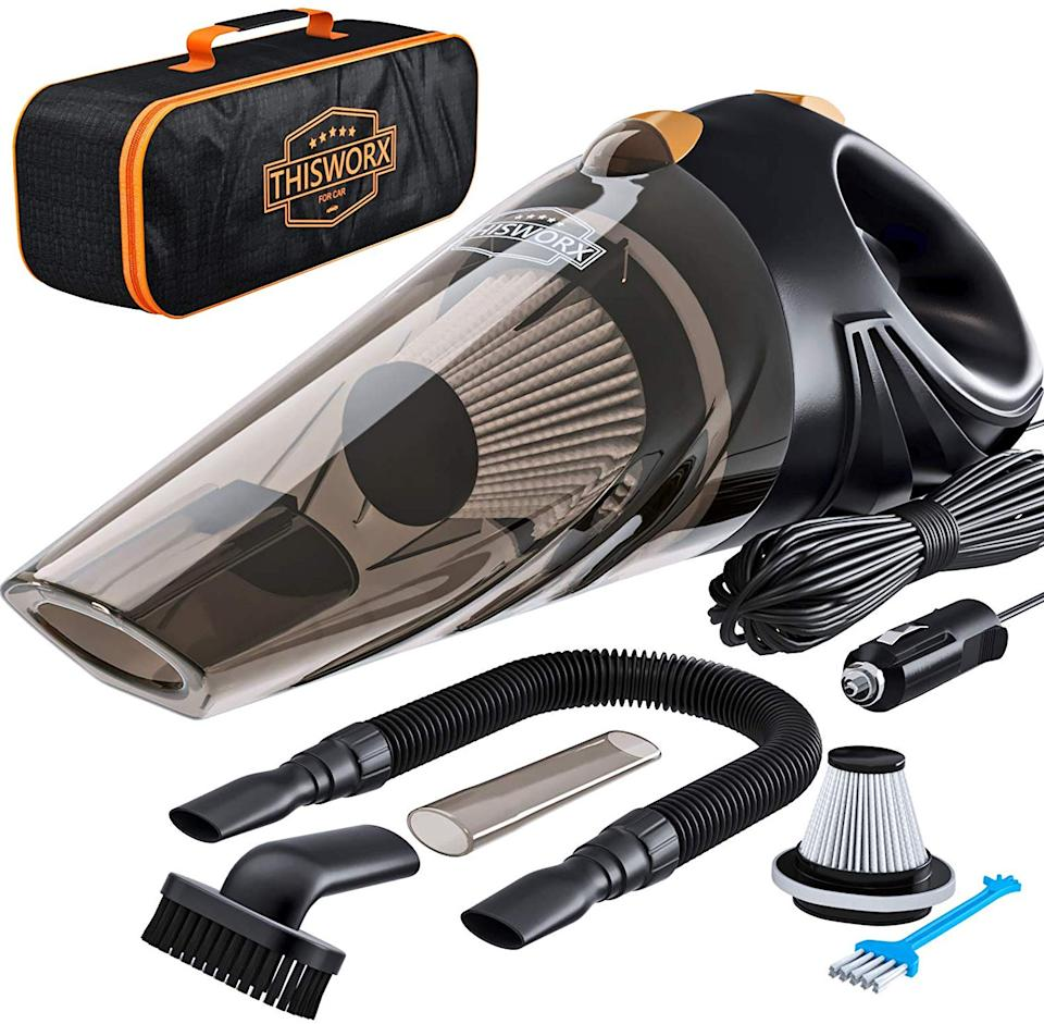 The corded vac comes with various attachments and a handy carry case. (Photo: Amazon)