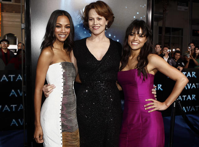 <p><em><em>Following her success in <em>Star Trek</em>, Saldana starred with Sigourney Weaver and Michelle Rodriguez in James Cameron's blockbuster <em>Avatar.</em> (Photo: Matt Sayles/AP) </em></em></p>