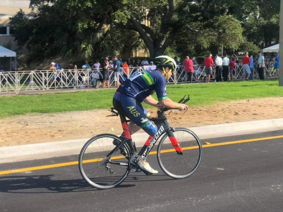 Picture of Mark cycling, since the crash, Mark has competed in various different sports, going to the Invictus Games