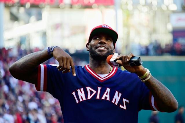 NBA star LeBron James, appearing at a 2016 Major League Baseball playoff game in Cleveland, warned MLB commissioner Rob Manfred on Tuesday that he needed to listen to criticism from players over the Houston Astros sign-stealing scandal (AFP Photo/Jason Miller)