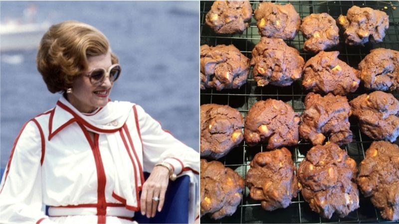 Betty Ford, left, and Betty Ford's Double Chocolate Cookies, right