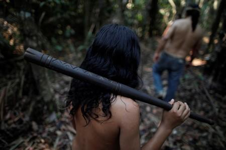 Indigenous people walk in a deforested area in nondemarcated indigenous land inside the Amazon rainforest near Humaita
