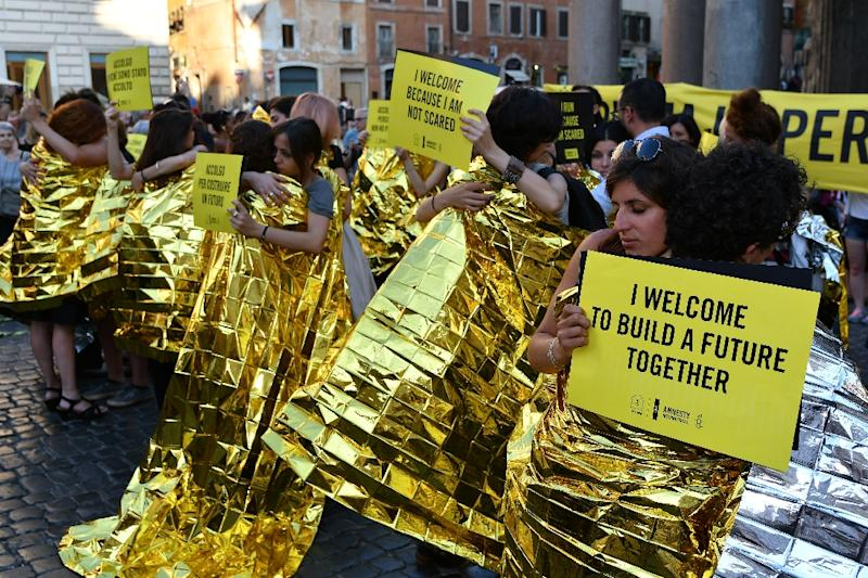 Rights group Amnesty International has called for the creation of safe channels for asylum seekers and refugees as an alternative to dangerous crossings (AFP Photo/Alberto PIZZOLI)