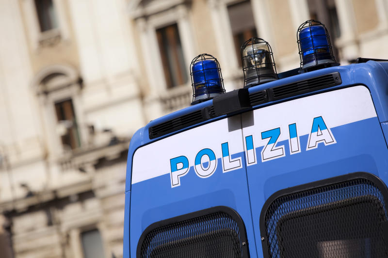 Police vehicle in Rome, Italy.