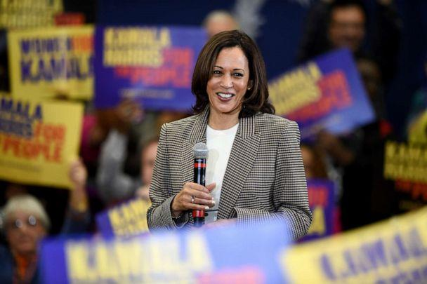 PHOTO: Democratic presidential candidate Kamala Harris speaks during a rally at Aiken High School in Aiken, S.C. Saturday, Oct. 19, 2019. (Michael Holahan/The Augusta Chronicle via AP)