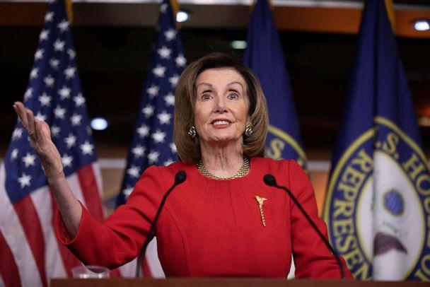 PHOTO: U.S. House Speaker Nancy Pelosi (D-CA) talks about the remaining legislative business and the House of Representatives vote to impeach U.S. President Donald Trump during her final weekly news conference of 2019 at the U.S. Capitol in Washington. (Aurora Samperio/NurPhoto via Getty Images)