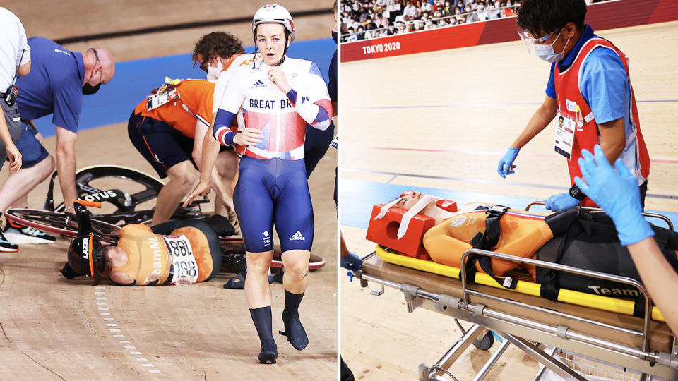 Laurine van Riessen, pictured here after the horror crash at the Olympics.