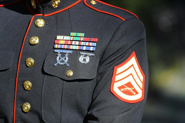<p>A close-up of the ribbons worn by a member of the Marine Corps during the Veterans Day parade in New York City on Nov. 11, 2017. (Photo: Gordon Donovan/Yahoo News) </p>