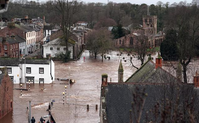 Flooded streets in Appleby-in-Westmorland, Cumbria. (PA)
