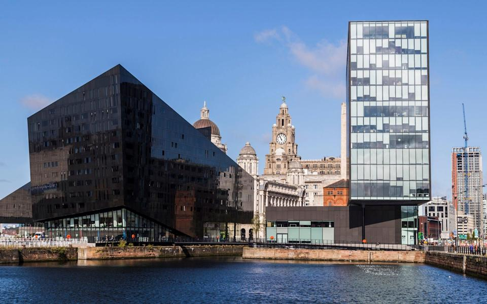 Mann Island with a glimpse of the Port of Liverpool and Royal Liver buildings beyond - John Wells/Getty Images