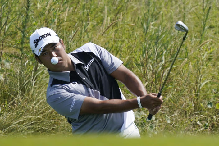 Hideki Matsuyama, of Japan, chips up to the sixth hole during a practice round at the PGA Championship golf tournament on the Ocean Course Wednesday, May 19, 2021, in Kiawah Island, S.C. (AP Photo/Matt York)