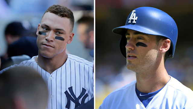 "The 2017 Rookies of the Year: <a class=""link rapid-noclick-resp"" href=""/mlb/players/9877/"" data-ylk=""slk:Aaron Judge"">Aaron Judge</a> of the Yankees and <a class=""link rapid-noclick-resp"" href=""/mlb/players/10504/"" data-ylk=""slk:Cody Bellinger"">Cody Bellinger</a> of the Dodgers. (AP)"