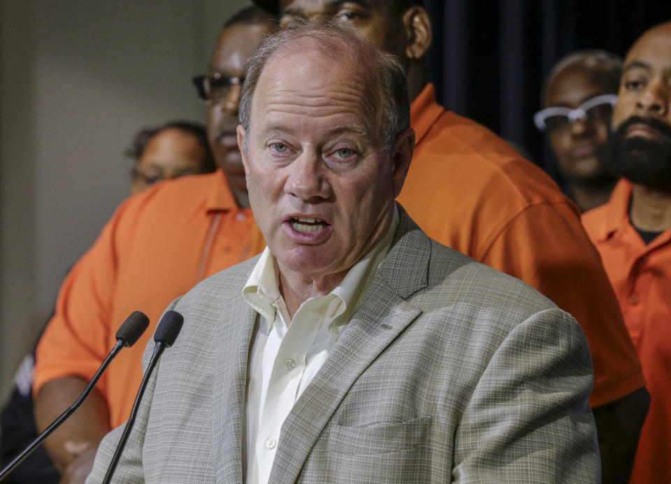 """Detroit Mayor Mike Duggan speaks during a press conference, Friday, June 7, 2019, at the Detroit Police Headquarters in Detroit, addressing the police response to a possible serial killer. Investigators believe a """"serial murderer and rapist"""" targeting prostitutes is at large in Detroit. (Kimberly P. Mitchell/Detroit Free Press via AP)"""