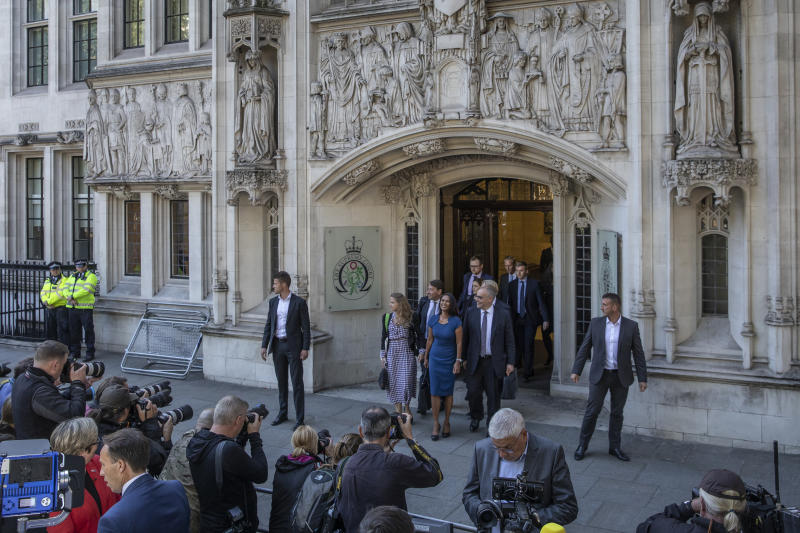LONDON, ENGLAND - SEPTEMBER 17: Businesswoman Gina Miller leaves the Supreme Court following a hearing on the legality of proroguing Parliament, on September 17, 2019 in London, England. The supreme court justices today sat as a panel of 11 judges to hear the challenge, brought by campaigner Gina Miller, that the Prime Minister acted unlawfully when he advised the Queen to suspend parliament. (Photo by Dan Kitwood/Getty Images)
