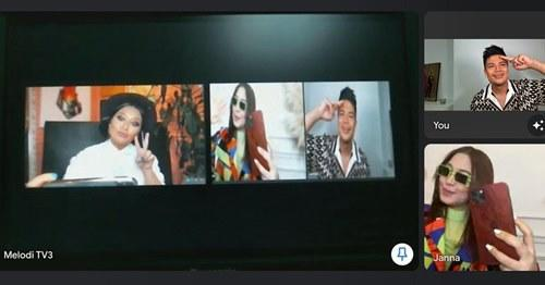 Awal shared this photo of him, Janna and Nabila meeting virtually on the show
