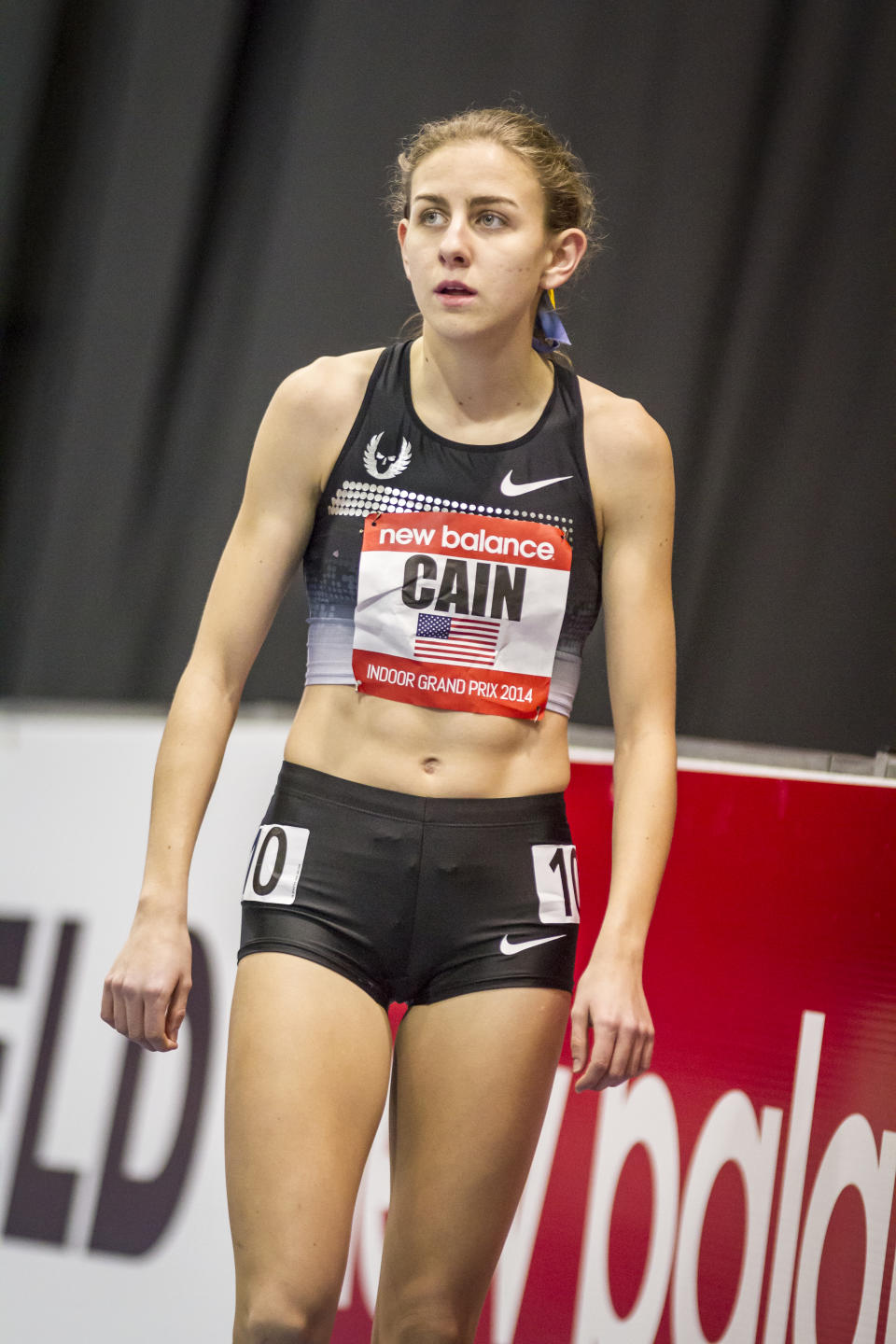 Mary Cain (pictured), high schooler from Bronxville, NY, wins women's 1000 meters.