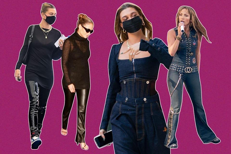 Hailey Bieber Secretly Recreated Some of Jennifer Lopez's Best '00s Outfits