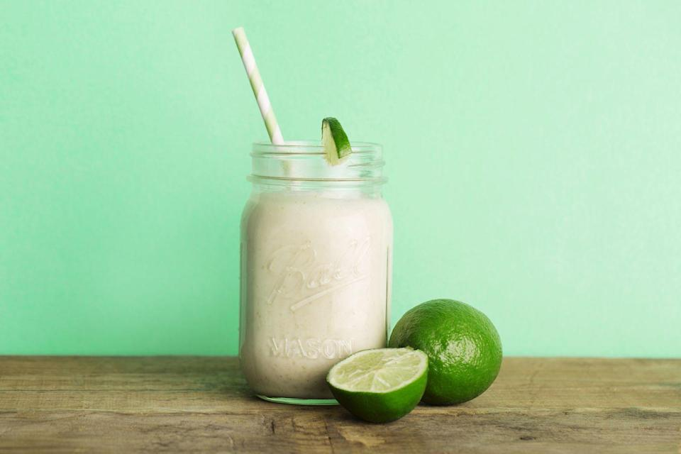 <p>In blender, combine one slice frozen key lime pie with two scoops vanilla ice cream and splash of milk. Pour into glass; garnish with sliced limes and crushed graham crackers.</p>