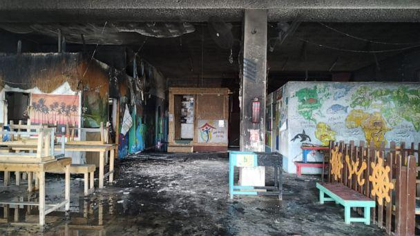 PHOTO: The International School of Peace after an apparent arson attack in Lesbos, Greece in March 2020. (One Happy Family)