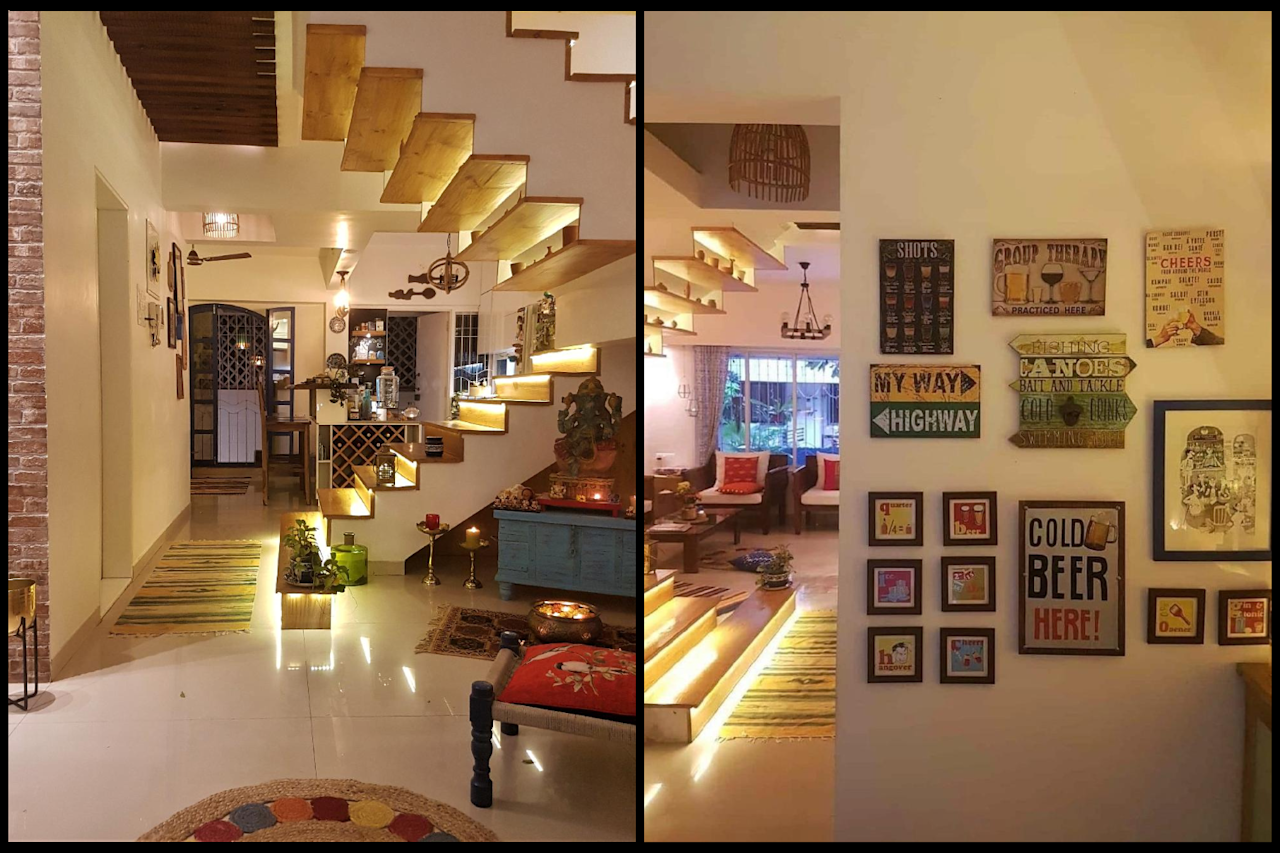 The living and dining areas are separated by the central stairway.