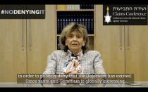 This photo taken on Tuesday, July 28, 2020 from an undated video shows former President of Central Council of Jews in Germany Charlotte Knobloch recording a message for Facebook's Mark Zuckerberg. Holocaust survivors around the world are lending their voices to a campaign launched Wednesday July 29, 2020, targeting Facebook head Mark Zuckerberg, urging him to take action to remove denial of the Nazi genocide from the social media site. Charlotte Knobloch is a Holocaust survivor who today lives in Munich. (Jewish Claims Conference via AP)