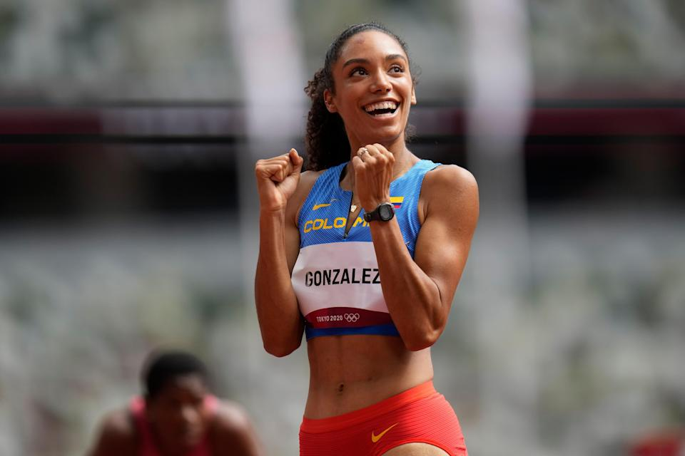 Melissa Gonzalez, of Colombia, reacts after competing in a heat in the women's 400-meter hurdles at the 2020 Summer Olympics, Saturday, July 31, 2021, in Tokyo.