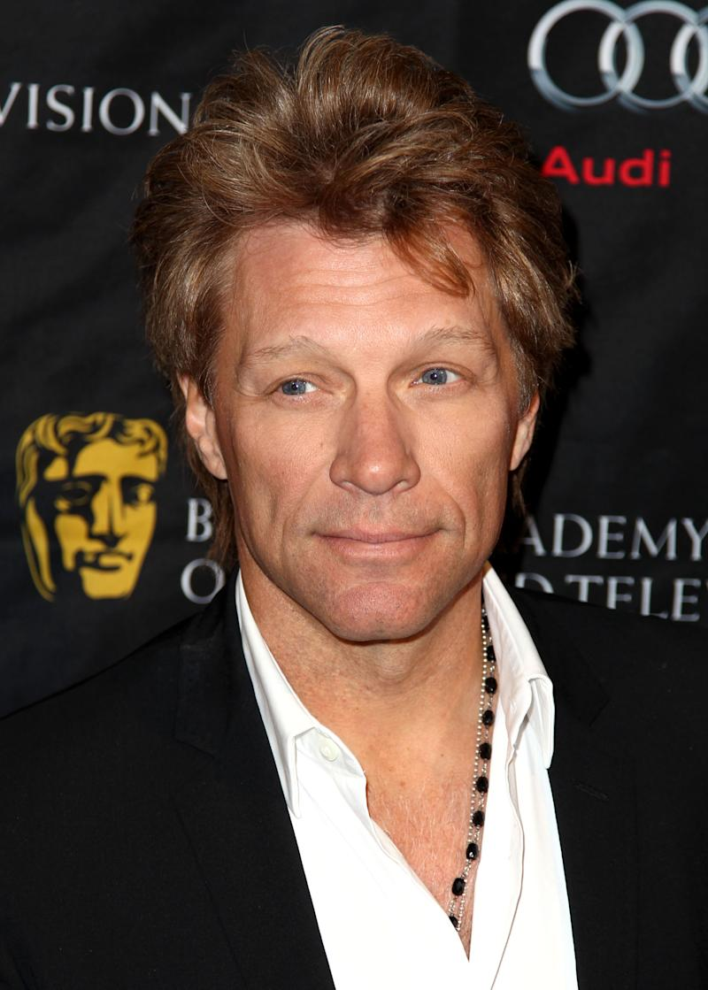 Jon Bon Jovi arrives at the BAFTA Awards Season Tea Party at The Four Seasons Hotel on Saturday, Jan. 12, 2013, in Los Angeles. (Photo by Matt Sayles/Invision/AP)