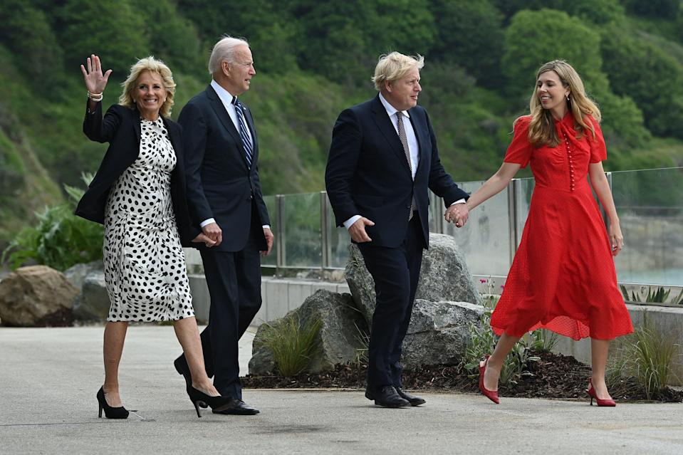 Dr Jill and Joe Biden and Boris and Carrie Johnson (AFP via Getty Images)