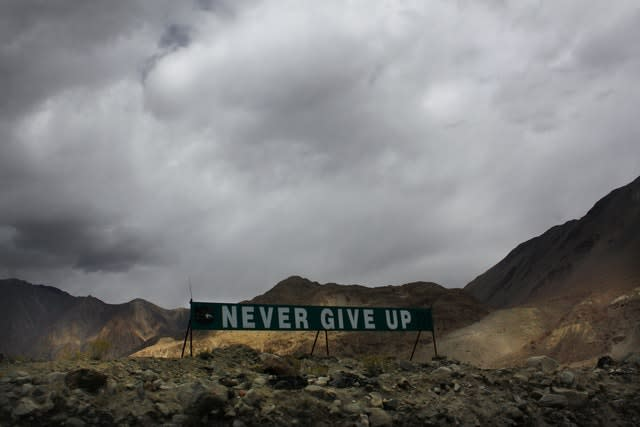 A banner erected by the Indian army stands near Pangong Tso lake near the India China border in India's Ladakh area (AP)