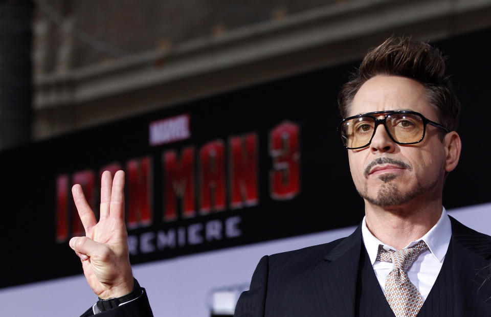Cast member Robert Downey Jr. poses at the premiere of