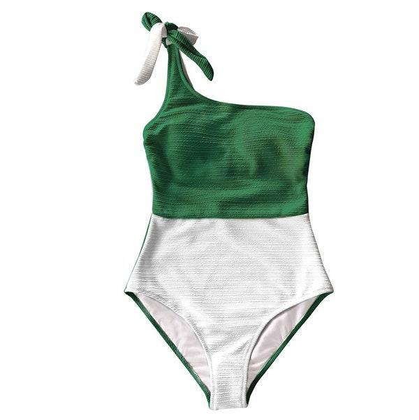 "Available in green, yellow, and baby blue, this color blocking one-piece is great for those who want fuller coverage but don't want to sacrifice style. $33, Amazon. <a href=""https://www.amazon.com/CUPSHE-Womens-White-Shoulder-Swimsuit/dp/B08167HNZB/"" rel=""nofollow noopener"" target=""_blank"" data-ylk=""slk:Get it now!"" class=""link rapid-noclick-resp"">Get it now!</a>"
