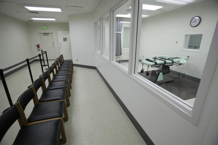 File - In this Sept. 21, 2010, file photo, is a witness gallery outside the death chamber at San Quentin State Prison in San Quentin, Calif. California's Supreme Court has refused to block death penalty cases from continuing during Gov. Gavin Newsom's moratorium on executions. The justices on Wednesday, Sept. 11, 2019, rejected defense attorneys' arguments that jurors can't realistically gauge the seriousness of imposing a death sentence if they think it's never actually going to be carried out. Newsom halted executions in March for as long as he remains governor. (AP Photo/Eric Risberg, File)