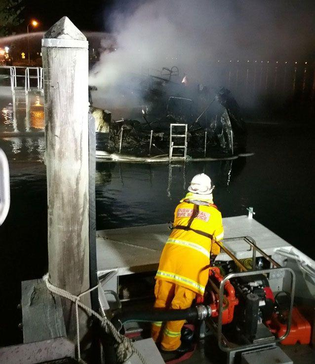 The boat's charred hull. Source: Prime 7