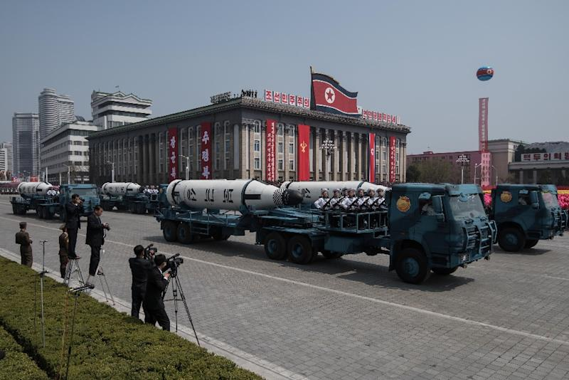 An unidentified mobile rocket lancher is displayed during a military parade marking the 105th anniversary of the birth of late North Korean leader Kim Il-Sung, in Pyongyang on April 15, 2017