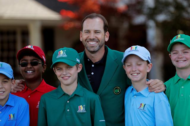 Masters champion Sergio Garcia poses for a picture with the finalists in the boys 10-11 year old Drive, Chip and Putt National Finals at Augusta National Golf Club in Augusta, Georgia, U.S., April 1, 2018. REUTERS/Brian Snyder
