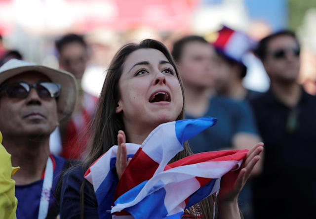 Soccer Football - World Cup - Group E - Costa Rica vs Serbia - Saint Petersburg, Russia - June 17, 2018. Costa Rica's fan reacts at Saint Petersburg Fan Fest. REUTERS/Henry Romero