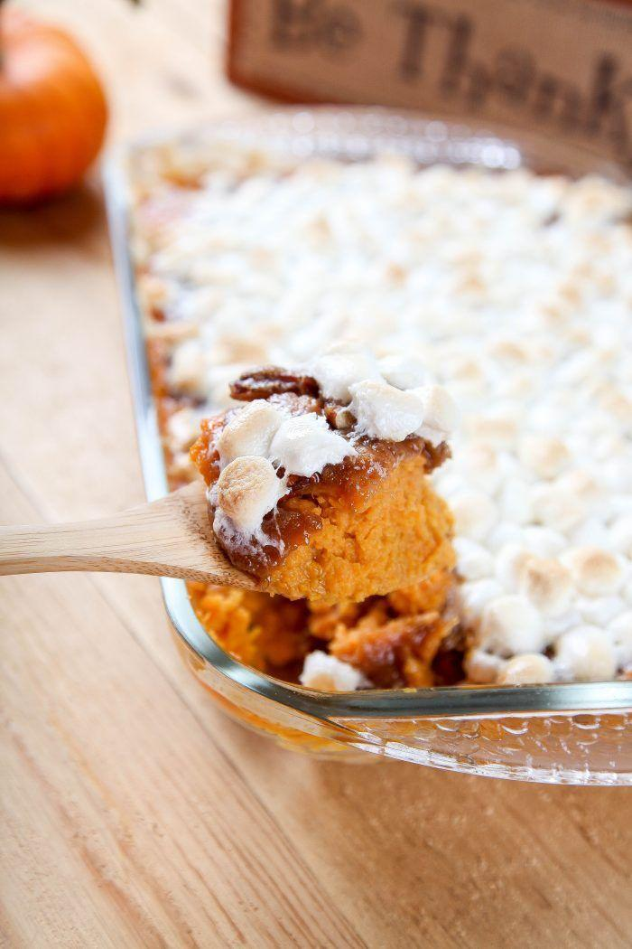 """<p>We're pretty sure your family will devour this sweet potato casserole before you can even set the turkey down!</p><p><strong>Get the recipe at <a href=""""https://www.bakingbeauty.net/slow-cooker-sweet-potato-casserole/"""" rel=""""nofollow noopener"""" target=""""_blank"""" data-ylk=""""slk:The Baking Beauty"""" class=""""link rapid-noclick-resp"""">The Baking Beauty</a>.</strong> </p>"""