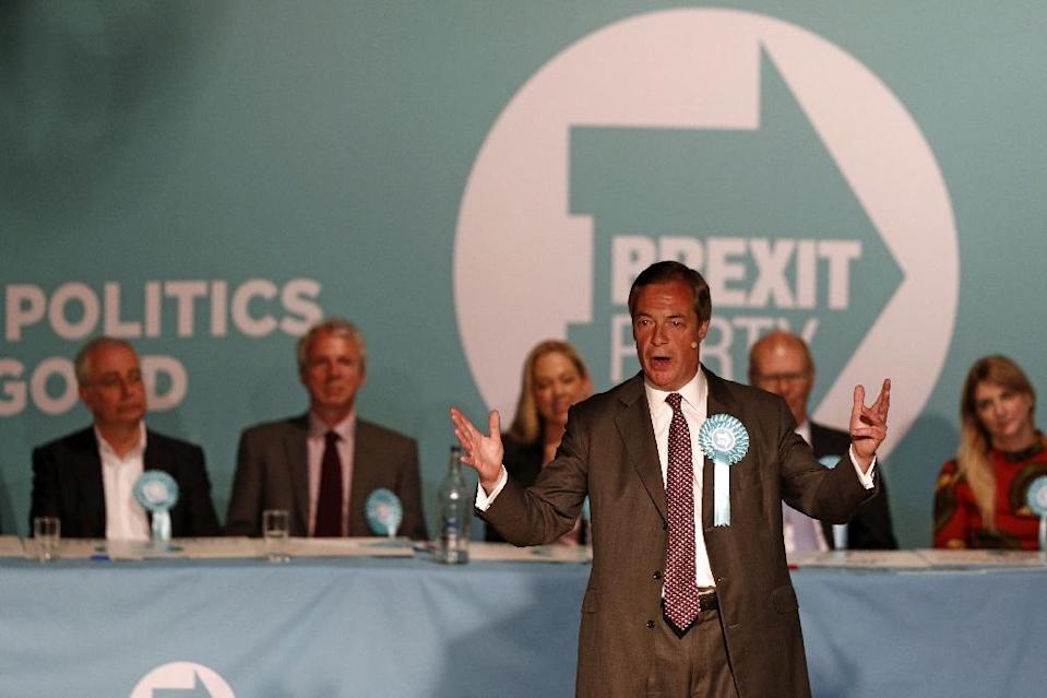 Nigel Farage's Brexit Party's fundraising is under review by Britain's Electoral Commission regulator (AFP Photo/Adrian DENNIS)