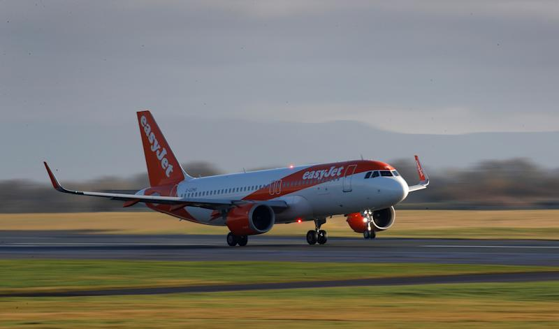 An Easyjet plane takes off from Manchester Airport in Manchester, Britain January 20, 2020. REUTERS/Phil Noble