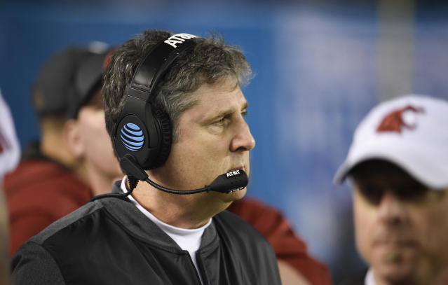 Washington State head coach Mike Leach looks on from the sidelines during the first half of the Holiday Bowl NCAA college football game against Michigan State Thursday, Dec. 28, 2017, in San Diego. (AP Photo/Denis Poroy)